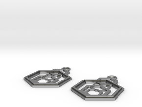 Geometrical earrings no.9 in Natural Silver: Small