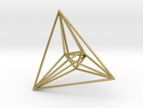 16-cell, perspective projection 2 in Natural Brass