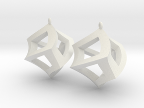 Twisted Cube Earrings in White Premium Versatile Plastic