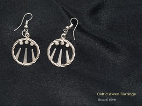 Celtic Awen Earrings in Natural Silver