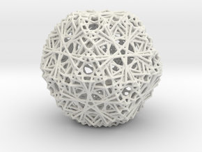 30 Cuboctahedron Compound, Wireframe in White Natural Versatile Plastic