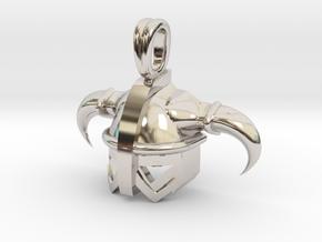 Viking Celtic Helmet Jewelry Pendant in Rhodium Plated Brass