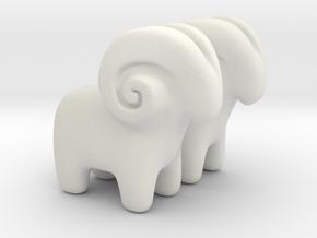 Ram Earrings in White Premium Versatile Plastic