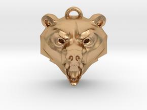 Bear Medallion (hollow version) medium in Natural Bronze: Medium