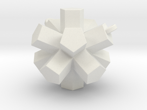 Dodecahedron pendant 2 loop  in White Natural Versatile Plastic