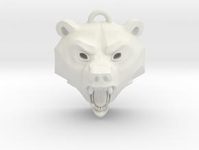 Bear Medallion (solid version) large in White Natural Versatile Plastic: Medium