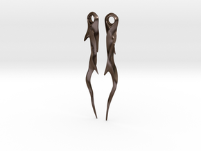Medieval Spike Earrings - Twisted in Polished Bronze Steel