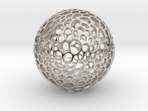 Alveole sphere in Rhodium Plated Brass
