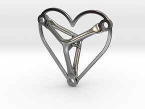 Necklace Heart - Generative Design in Fine Detail Polished Silver
