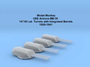 1/700 USS Arizona BB-39 Turrets with fixed barrels in Smoothest Fine Detail Plastic