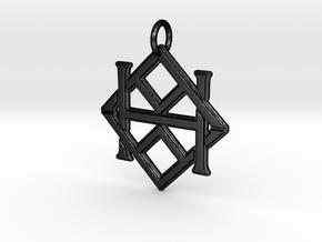 Monogram Initials AAH Pendant  in Matte Black Steel
