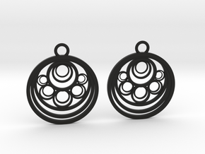 Geometrical earrings no.10 in Black Natural Versatile Plastic: Medium