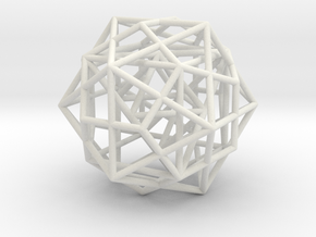 Nested Platonic Solids -Round Wires in White Natural Versatile Plastic