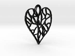 Cracked Heart Pendant in Matte Black Steel