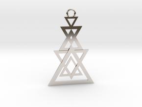Geometrical pendant no.11 in Rhodium Plated Brass: Medium
