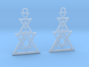 Geometrical earrings no.11 in Smooth Fine Detail Plastic: Small