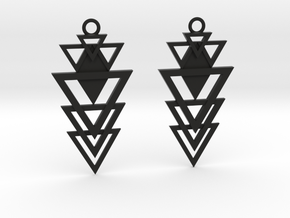 Geometrical earrings no.12 in Black Natural Versatile Plastic: Small