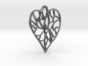 Cracked Heart Pendant in Polished Silver