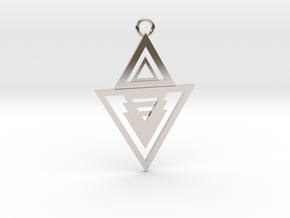 Geometrical pendant no.13 in Rhodium Plated Brass: Medium