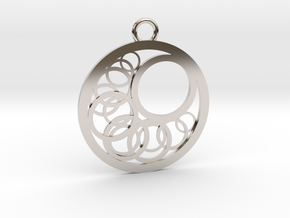 Geometrical pendant no.16 in Rhodium Plated Brass: Medium