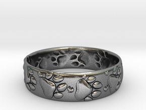 Paw prints and hearts ring in Antique Silver: 6.5 / 52.75