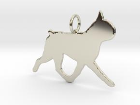 Boston Terrier dog trot Pendant  in 14k White Gold: Small