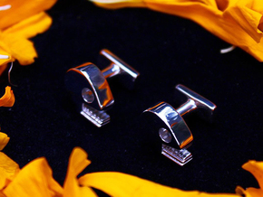 Mictlan cufflinks in Rhodium Plated Brass