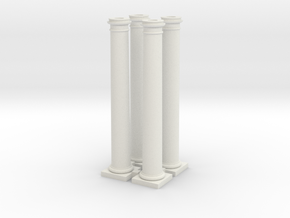 4 Doric Columns 3500mm high at 1 to 76 scaled in White Natural Versatile Plastic