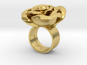 Rosa solitaria_M in Polished Brass