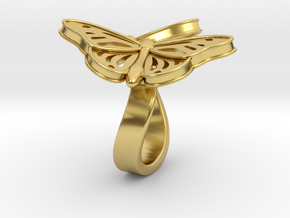 Butterflies in Love_L in Polished Brass