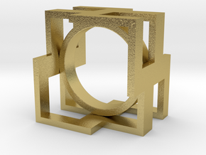 Design Cubic Ring in Natural Brass: 6 / 51.5