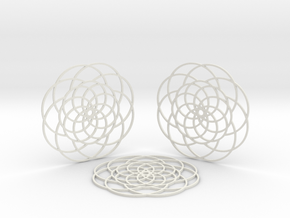 Camellia Coasters in White Natural Versatile Plastic