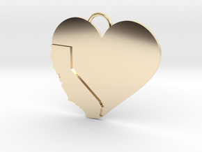 California Heart in 14k Gold Plated Brass
