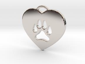 Heart Paw Pendant. in Platinum