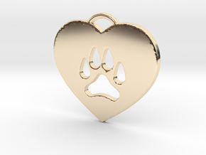 Heart Paw Pendant. in 14k Gold Plated Brass