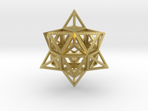 """Wireframe Stellated Vector Equilibrium 3""""  in Natural Brass"""
