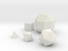 Basic geometric shapes D4 D6 D8 D20 and D26 in White Natural Versatile Plastic