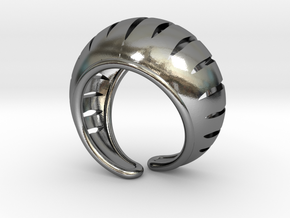 """Rounded Ring """"Carvings"""" in Polished Silver"""