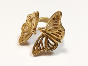 Butterflies in Love_S in Polished Brass