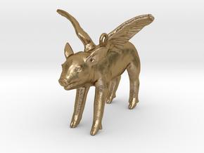 2013: Flying Pig in Polished Gold Steel