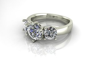 Classic Solitaire 9, 1ct centre NO STONES SUPPLIED in Fine Detail Polished Silver