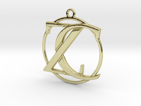 Initials Z&C and circle monogram in 18k Gold Plated Brass