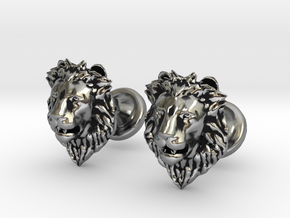 Lions Head cufflinks in Antique Silver