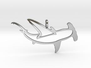 shark hammer pendant in Fine Detail Polished Silver