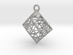 Wire Sierpinski Octahedron Pendant in Aluminum