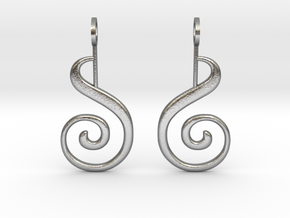 Spiral Earrings in Natural Silver