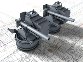 "1/144 4.5""/19 (11.4 cm) 8cwt QF MKI Guns x2 (MTB) in Smoothest Fine Detail Plastic"
