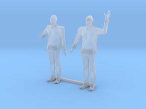 S Scale Bearded Man Shaking Hands - Waving in Smooth Fine Detail Plastic