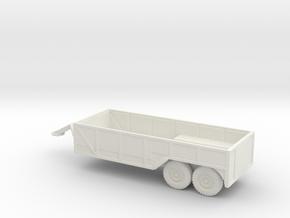 1/100 Scale 6x6 Jeep Open Cargo Trailer in White Natural Versatile Plastic
