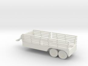 1/100 Scale 6x6 Jeep Cargo Trailer with Crane in White Natural Versatile Plastic
